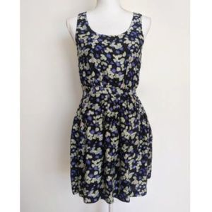 Madewell Eliot Silk Floral Dress Purple Pockets